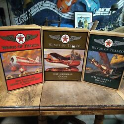 Texaco Wings Of Texaco--lot Of 4--planes/coin Banks--in Original Packaging