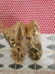 Dolce And Gabbana Runway Gold Mesh Shoes Sz 39 Collectible