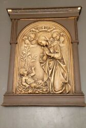 1900's Religious 3 Foot Church Plaque In Wood Frame Mary Jesus And 2 Angels