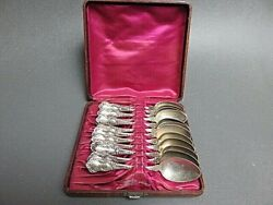 12 Sterling Silver 925 Spoons In Silk Lined Leather Case 250 Grams Ryrie Bros.