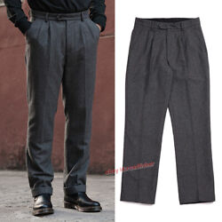 Vintage Heavy Weight Plush Thick Straight Pants Mens Tweed Hunting Suit Trousers