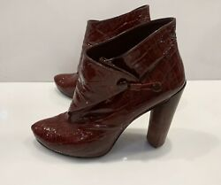 Vintage Louis Vuitton Cornelia Leather Boots Croco Embossed Shoes Red Sz 38