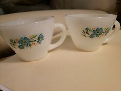 Lot Of 2 Fire King Vintage Anchor Hocking Tea Cupblue Floral Milk Glass, As Is
