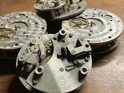 4 Vtg Jaeger Watch Co 8 Day Clock Movements 6 Jewel Parts Or Repair
