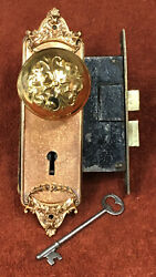 Antique Decorative Solid Brass Mortise Lock Set With Plates, Knobs, And Key