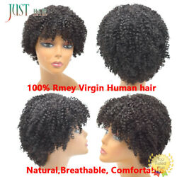 Short Afro Kinky Curly 100%Human Hair None Lace Front Wigs For Black Women 8inch $28.99