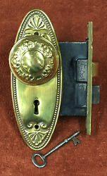 Antique Mortise Solid Brass Lock Set W/ Knobs, Decorative Oval Plates And Key