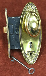 Antique Mortise Solid Brass Lock Set W/ Decorative Oval Knobs, Plates And Key
