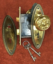 Antique Mortise Solid Brass Lock Set W/ Decorative Knobs, Oval Plates And Two Keys