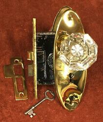 Antique Mortise Solid Brass Lock Set W/ Glass Knobs, Oval Plates, Striker And Key