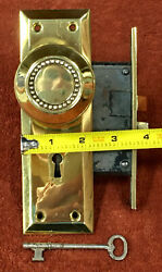 Antique Mortise Solid Brass Lock Set W/ Knobs, Large And Small Plates And Key