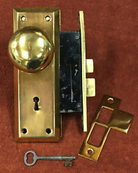 Antique Mortise Sager Solid Brass Lock Set W/ Knobs And Plates, Striker And Key