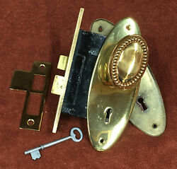 Antique Mortise Sager Solid Brass Lock Set W/ Oval Knobs, Plates, Striker And Key