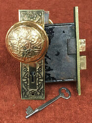 Antique Mortise Y And T Solid Brass Lock Set W/ Decorative Knobs, Plates And Key