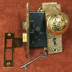 Antique Mortise Corbin Solid Brass Lock Set W/ Decorative Knobs Plates And Key