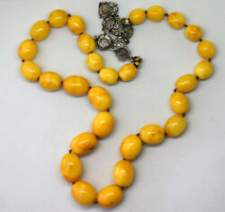 Vintage Natural Butterscotch Amber And Sterling Silver Necklace 65.77 Grams