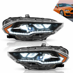 Amber Lens Led Sequential Headlight Assembly Left+right For Ford Mustang 1820