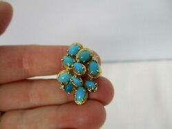 Vintage Estate 14k Yellow Gold With Turquoise And Diamonds Cocktail Ring Size 7