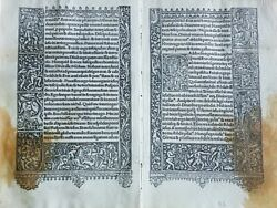 Iron Engraved 16th Century Double Leaf 110mm X 170mmfrom Book Of Hours Paris