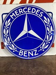 Vintage Style And039and039mercedes Benzand039and039 Gas And Oil Pump Plate 12 Inch Porcelain Sign