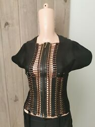 Vintage Leather Inserts Top Sz It40 Collectible