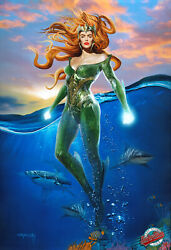 ⭐ Queen Mera -1st.edition Enhanced Giclee, Canvas, Painted, Signed By Koufay
