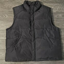 Brooks Brothers 346 Mens Puffer Vest Snap Front Navy Blue Xl 70/30 Down/feather