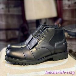 Menand039s Genuine Leather Ankle Boots Lace Up Shoes Round Toe High Top Classic Cargo