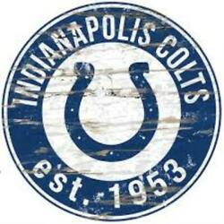 Indianapolis Colts 24 Distressed Round Sign