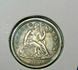 1857 Seated Liberty One Dime Stars Au Untouched Original Coin - Toning 1293