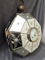 Rare French Paris Mirrored Coupier And Drouart Hanging Figural Clock Antique