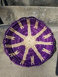 Raffia Coiled Basket Tray Purple And Natural Boho 13 1 2quot;