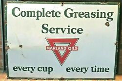 Vintage Original Marland Oil Company Porcelain Grease Sign - Fair Condition