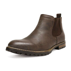 Menand039s Casual Chelsea Ankle Boots Elastic Slip On Shoes Black Brown Size 6.5-15