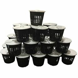 Net Pot 3 Inch Lids Mesh Hydroponic Aeroponic Orchid Round - 25 Pack Garden Andamp