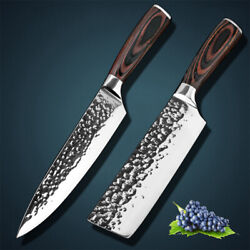 2 Pcs Kitchen Knife Set Japanese Stainless Steel Meat Cleaver Chef's Knife Gift