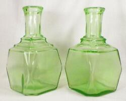 2 Green Depression Glass Decanters Anchor Hocking No Stoppers Bottles Only