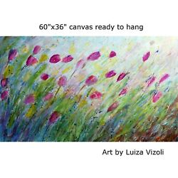 Extra Large 60x36 Painting Spring Meadow Tulip Flowers Original Oil On Canvas