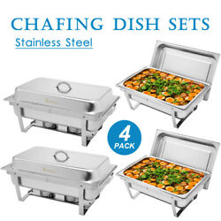 4 Pack Chafer Chafing Dish Sets W/ Foldable Legs Stainless Steel Pans 9l/8q