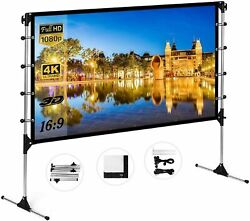 60quot; 150quot; Projector Screen HD 16:9 Foldable In Outdoor Theater Movie Projection