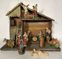 Vintage Italian Christmas Manger Nativity Scene With 15 Figures Made In Italy