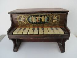 Antique Victorian Schoenhut Child's Toy Piano 10 Key Winged Angels And Works