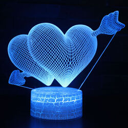 3d Illusion Led Night Light Acrylic Table Desk Lamps Rooms Kids Gifts Decors