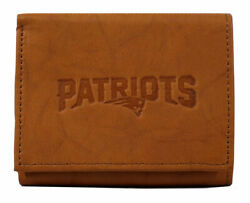 New England N.e. Patriots Embossed Leather Trifold Wallet