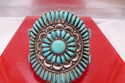 Large Cuff Bracelet Zuni Signed Jwms Petit Point Turquoise Sterling Silver