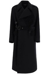New Dolce And Gabbana Double-breasted Coat With Belt G025ct Fu2sl Nero Authentic N