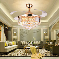 36/42 Remote Invisible Ceiling Fan Light Crystal Chandelier Home Lamp Fixtures
