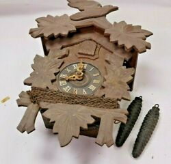 Vintage Hand Carved Cuckoo Clock Mfg. Co. Germany With Weights - Needs Work
