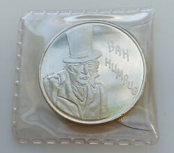 Merry Christmas Bah Humbug 1 Troy Ounce Pure .999 Silver Coin