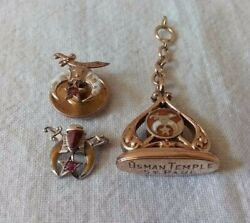 Antique Gold Filled Masonic Shriner Pocket Watch Fob And Two Lapel Pins